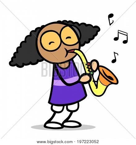 African cartoon girl playing saxophone in music school