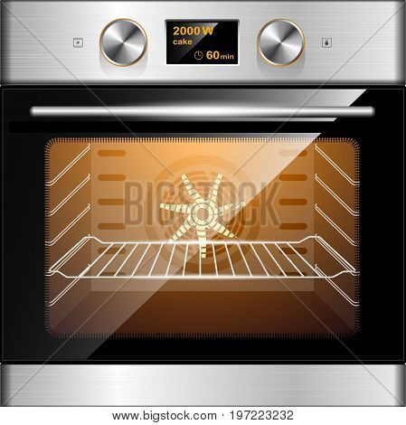 Electric Oven In Stainless Steel And Glass. Electronic Control. Kitchen Equipment.