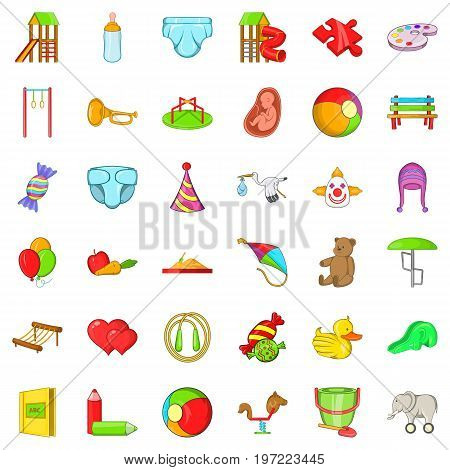 Pregnancy icons set. Cartoon style of 36 pregnancy vector icons for web isolated on white background