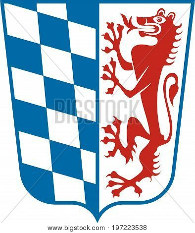Coat of arms of Lower Bavaria is one of the seven administrative regions of Bavaria Germany. Vector illustration
