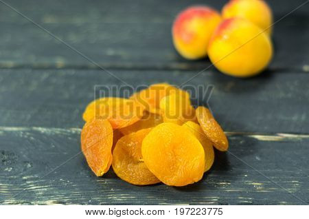 Dry Apricot And Apricot. Dry Apricot. Fruits.