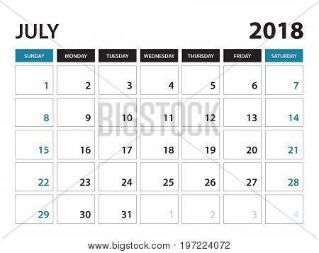 Printable calendar for July 2018 Planner design template Week starts on Sunday Stationery design