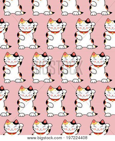 Seamless pattern with cute maneki neko cats japanese symbol of luck. Vector Illustration.