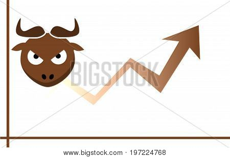 Forex market. Concept of Forex. Trading. Illustration. Brown overall. Graph. Chart. Bull. White background