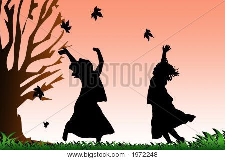 Two Girls Dancing Girl In Autumn Leaves Grass Sunset Copy
