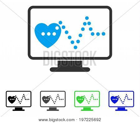 Cardio Monitoring flat vector illustration. Colored cardio monitoring gray, black, blue, green pictogram versions. Flat icon style for graphic design.