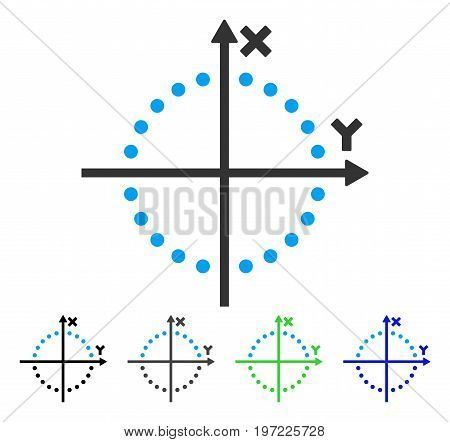 Circle Plot flat vector illustration. Colored circle plot gray, black, blue, green pictogram variants. Flat icon style for graphic design.