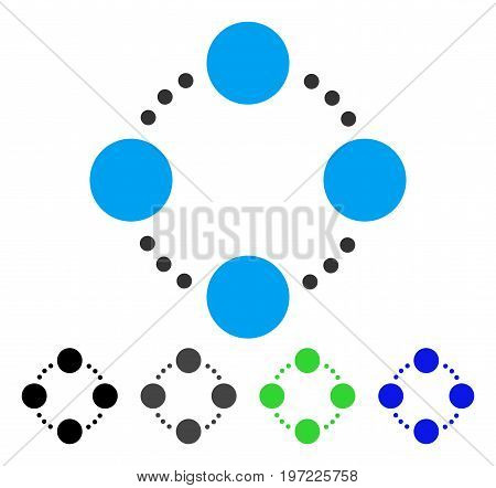 Circular Relations flat vector illustration. Colored circular relations gray, black, blue, green pictogram variants. Flat icon style for application design.