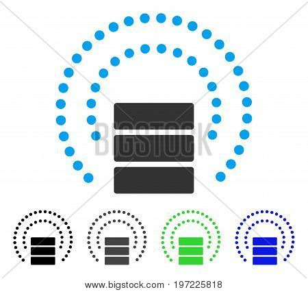 Database Sphere Shield flat vector pictograph. Colored database sphere shield gray, black, blue, green pictogram variants. Flat icon style for application design.