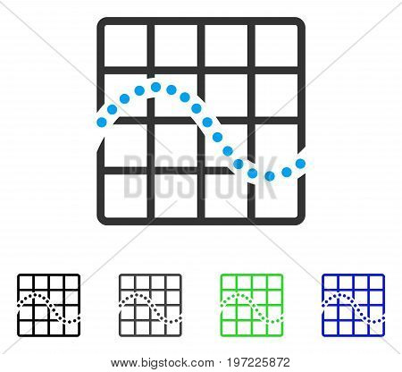 Function Chart flat vector pictogram. Colored function chart gray, black, blue, green icon variants. Flat icon style for graphic design.