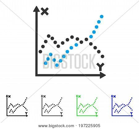 Functions Plot flat vector illustration. Colored functions plot gray, black, blue, green icon versions. Flat icon style for application design.