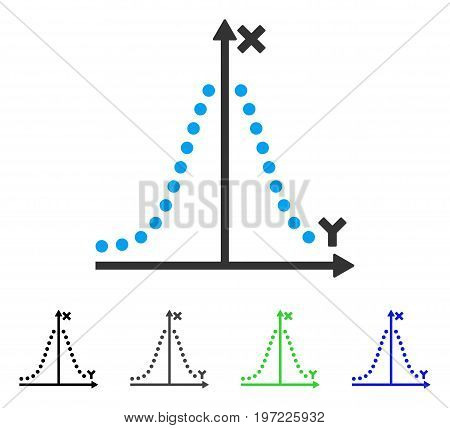 Gauss Plot flat vector pictograph. Colored gauss plot gray, black, blue, green icon variants. Flat icon style for application design.