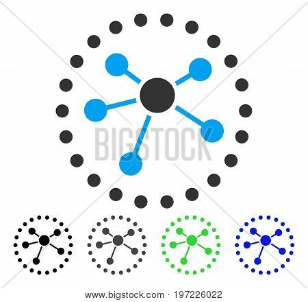 Links Diagram flat vector pictograph. Colored links diagram gray, black, blue, green icon variants. Flat icon style for application design.