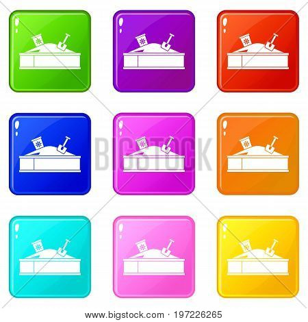 Sandbox with bucket and shovel icons of 9 color set isolated vector illustration