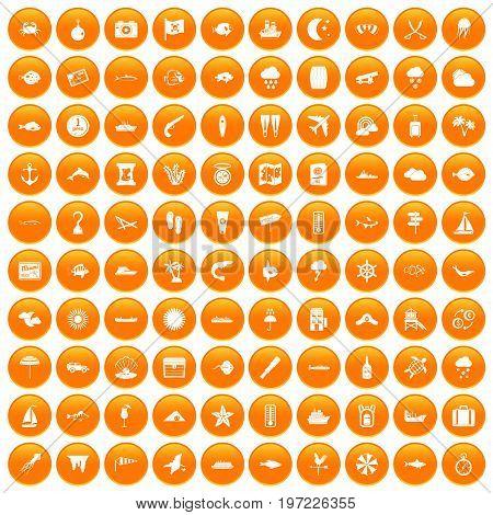 100 marine environment icons set in orange circle isolated on white vector illustration