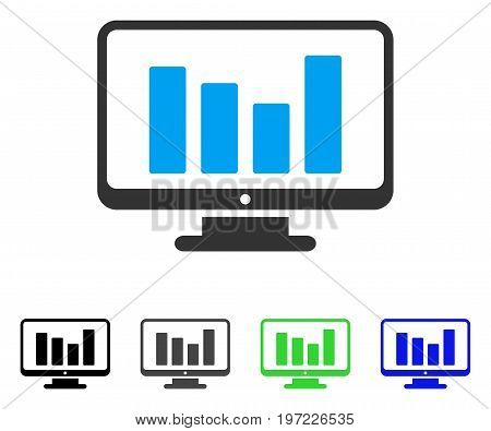 Bar Chart Monitoring flat vector illustration. Colored bar chart monitoring gray, black, blue, green icon versions. Flat icon style for graphic design.