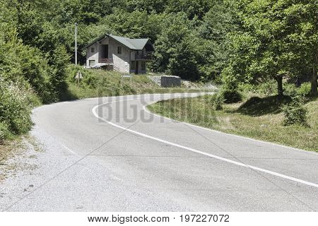 Road in the mountains. Montenegro Canyon of the River Tara