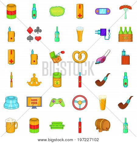 Adult habit icons set. Cartoon style of 36 adult habit vector icons for web isolated on white background