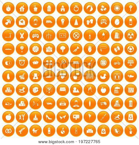 100 maternity leave icons set in orange circle isolated on white vector illustration