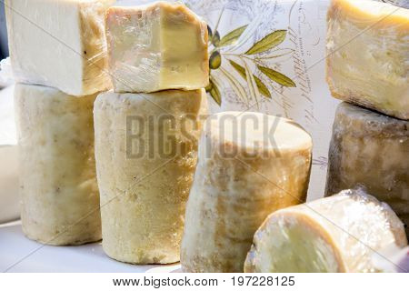 Provolone cheese and typical southern Italy in dairy - Sicily Italian