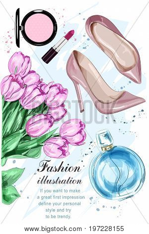 Beautiful tulip flowers with cute parfum, stylish shoes and cosmetics. Hand drawn fashion set. Sketch. Vector illustration.