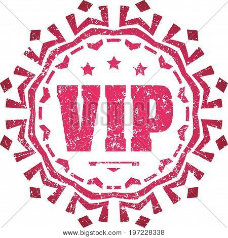 Rich decorated grunge style sign VIP. Rubber stamp emblem decor for your design.