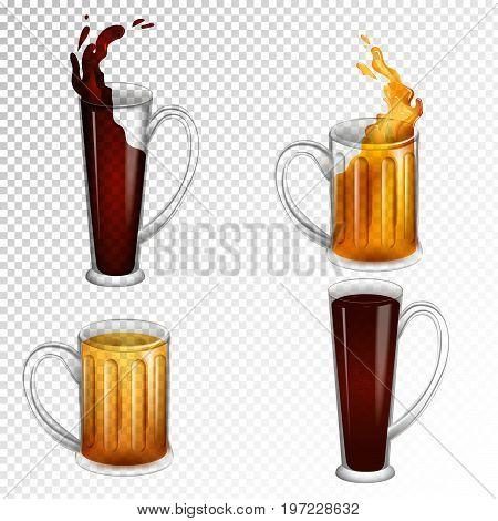 Set of illustrations of beer mugs for International beer day. Collection of transparent objects for alchohol festival.