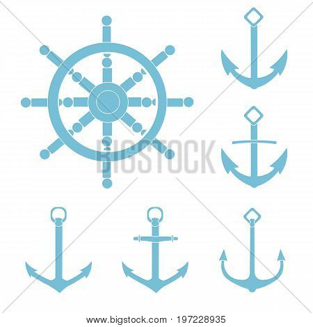 anchor helm isolated background white silhouette sea
