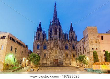 The Cathedral of the Holy Cross and St. Eulalia. Barcelona. Spain.