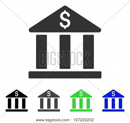 Bank Building flat vector pictogram. Colored bank building gray, black, blue, green icon versions. Flat icon style for application design.