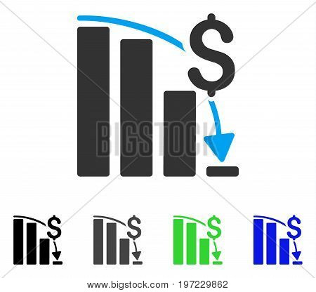 Financial Crisis flat vector icon. Colored financial crisis gray, black, blue, green icon variants. Flat icon style for web design.