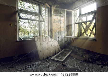 Abandoned building. Old building with broken windows