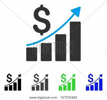 Financial Report flat vector pictogram. Colored financial report gray, black, blue, green pictogram variants. Flat icon style for web design.