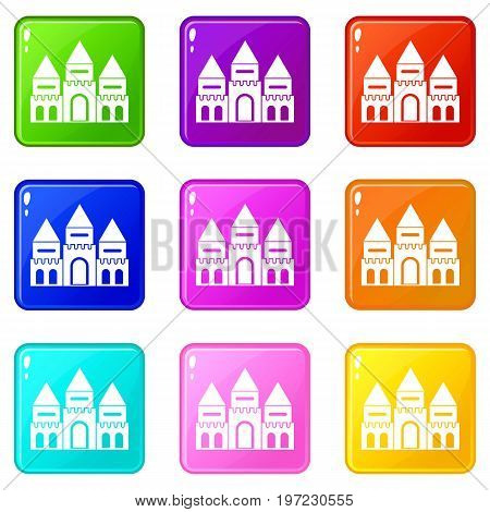 Children house castle icons of 9 color set isolated vector illustration