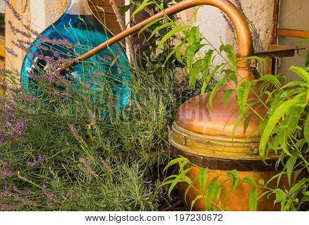 Retro apparatus for distillation of lavender oil in Provence, France.