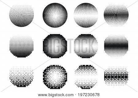 Set of halftone dots black color vector circle shapes. Abstract dotted stippling shapes.