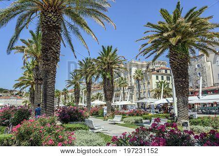 SPLIT, CROATIA - JULY 12, 2017: The embankment of the resort town of Split in summer.