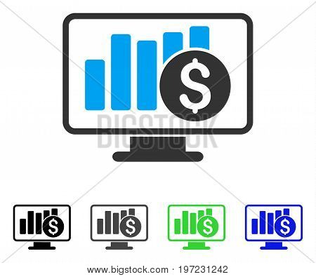Stock Market Monitoring flat vector illustration. Colored stock market monitoring gray, black, blue, green pictogram variants. Flat icon style for web design.