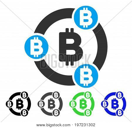 Bitcoin Collaboration flat vector illustration. Colored bitcoin collaboration gray, black, blue, green pictogram versions. Flat icon style for application design.