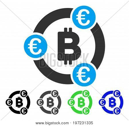 Bitcoin Euro Collaboration flat vector illustration. Colored bitcoin euro collaboration gray, black, blue, green icon variants. Flat icon style for graphic design.