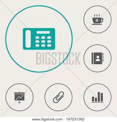 Collection Of Clip, Coffee, Address Book And Other Elements.  Set Of 6 Work Icons Set.