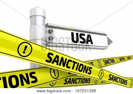 Sanctions against USA. Street sign with the word