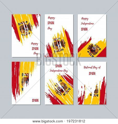 Spain Patriotic Cards For National Day. Expressive Brush Stroke In National Flag Colors On White Car