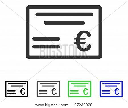 Euro Cheque flat vector illustration. Colored euro cheque gray, black, blue, green icon versions. Flat icon style for web design.