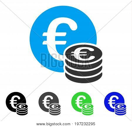 Euro Coin Stack flat vector icon. Colored euro coin stack gray, black, blue, green pictogram variants. Flat icon style for web design.