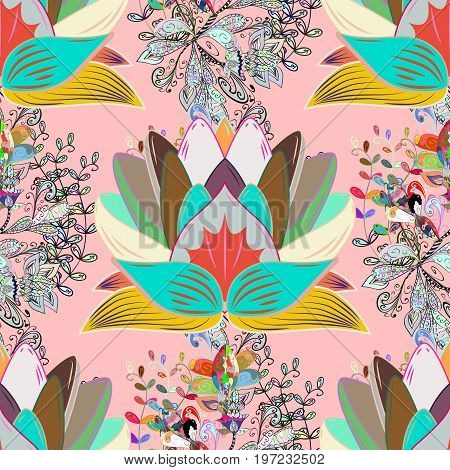 Bright floral collage blossom flowers. Blossom lilies seamless background. Amazing collage paradise style for floral design.