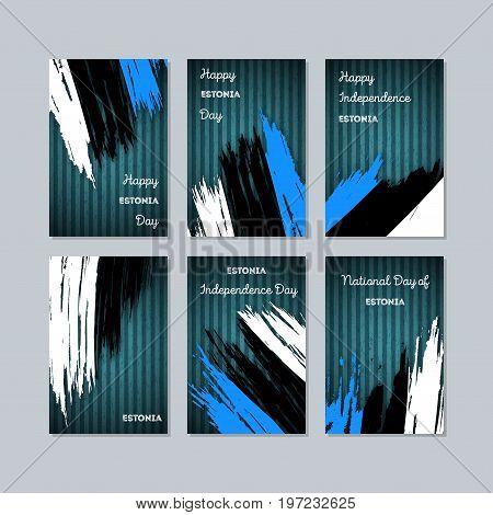 Estonia Patriotic Cards For National Day. Expressive Brush Stroke In National Flag Colors On Dark St