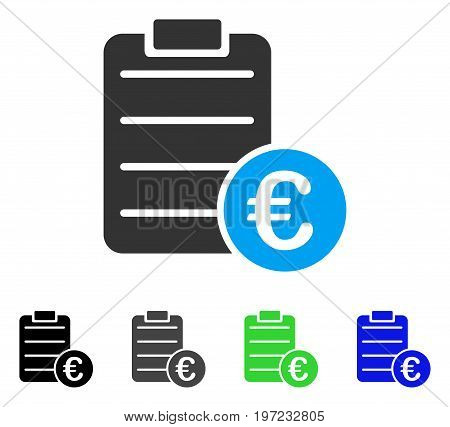 Euro Pad flat vector pictograph. Colored euro pad gray, black, blue, green pictogram variants. Flat icon style for application design.