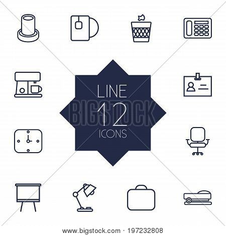 Collection Of Telephone, Briefcase, Table Lamp And Other Elements.  Set Of 12 Office Outline Icons Set.
