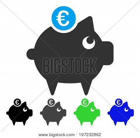 Euro Piggy Bank flat vector icon. Colored euro piggy bank gray, black, blue, green pictogram variants. Flat icon style for web design.